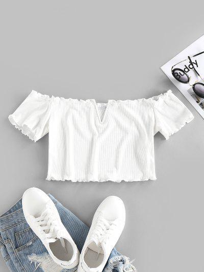 ZAFUL Ribbed V Wired Off Shoulder Lettuce Trim T Shirt - White S