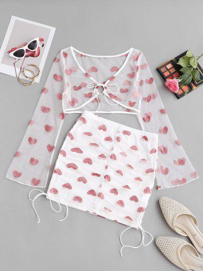 Ruched Mesh Metallic Heart Mini Skirt Set - White M