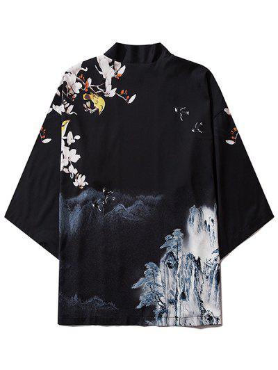 Mountain Flower Bird Landscape Kimono Cardigan - Black L