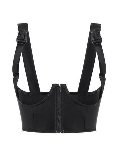 Buckled Strap PU Leather Underwire Underboob Corset - Black M