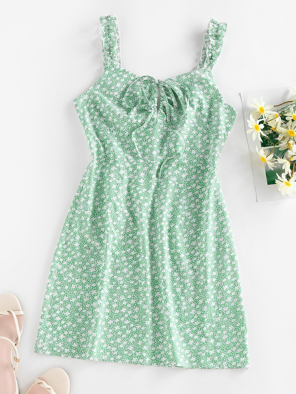 Zaful Tiny Floral Bowknot Keyhole Dress