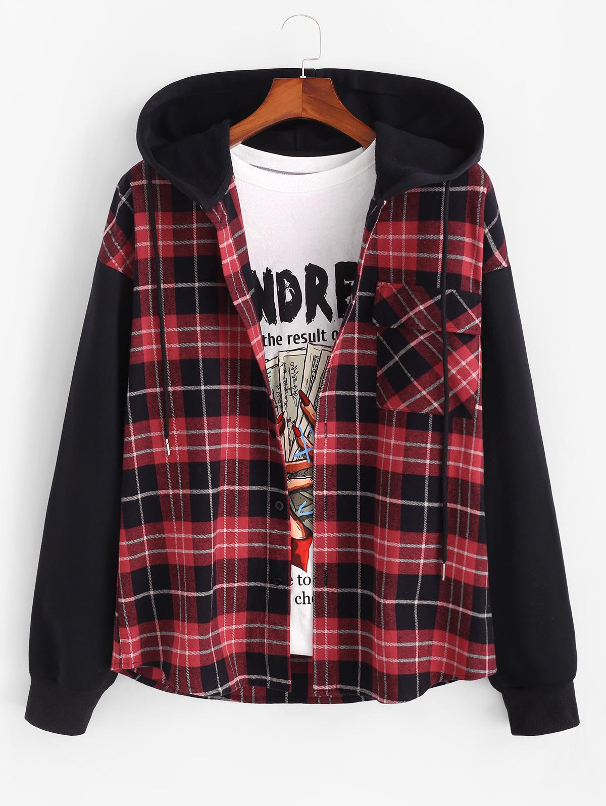 Hooded Plaid Print Button Up Pocket Jacket