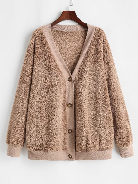 trendy Button Up Ribbed Trim Fluffy Cardigan Coat - COFFEE L