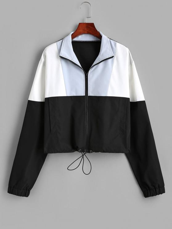 women Pockets Zip Up Colorblock Sporty Jacket - BLACK M