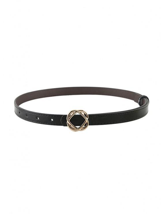 Flower Buckle PU Waist Belt - أسود