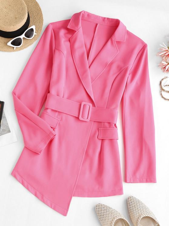 women Lapel Belted Flap Detail Blazer - LIGHT PINK S