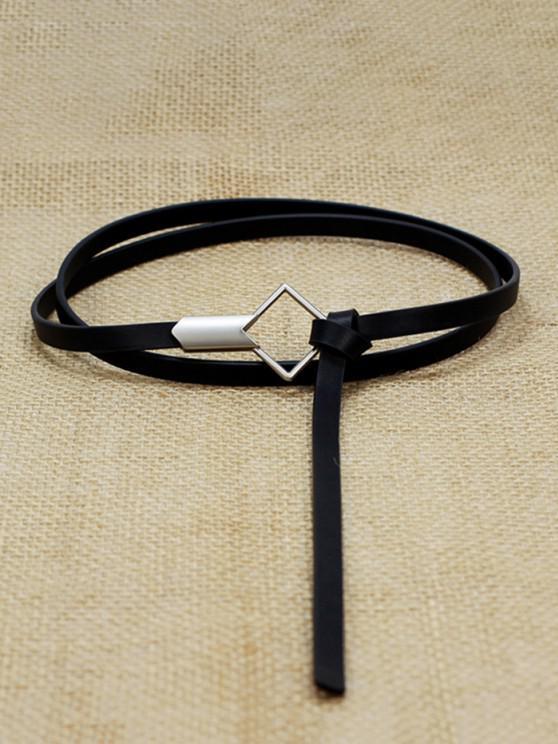 Decorative Geometric Buckle PU Belt - أسود
