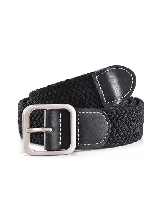 affordable Square Pin Buckle Woven Belt - BLACK