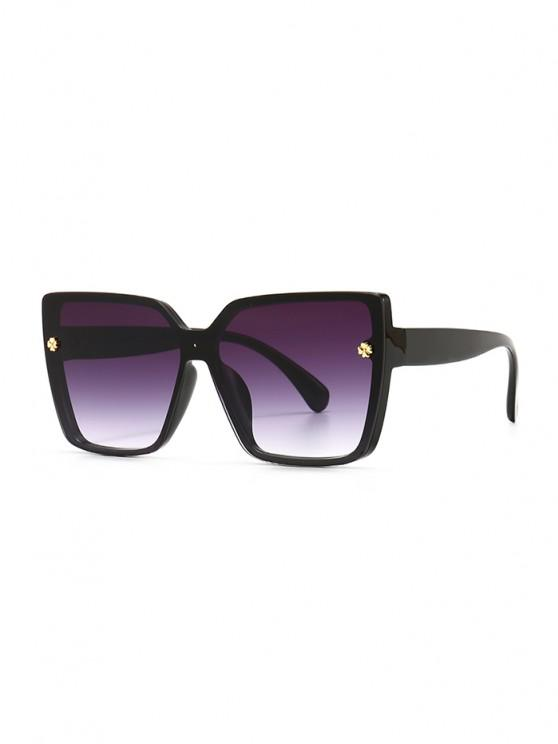 outfit Full Frame Clover Detail Square Ombre Sunglasses - BLACK