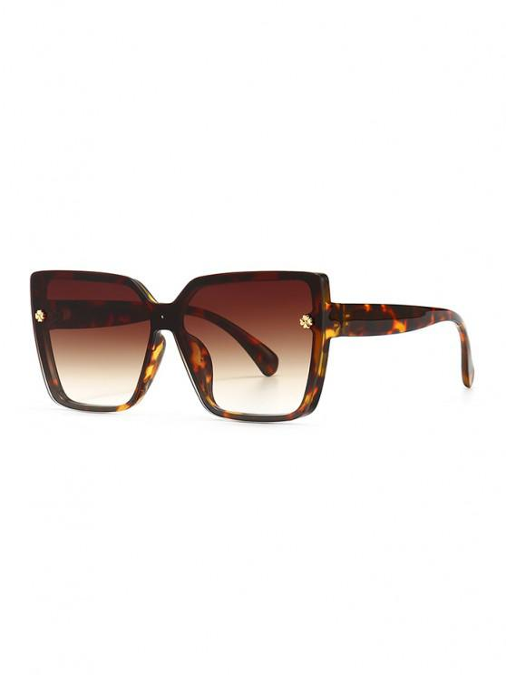 outfits Full Frame Clover Detail Square Ombre Sunglasses - LEOPARD