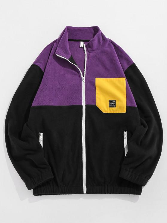 ZAFUL Applique Detail Contrast Fleece Jacket - أرجواني S