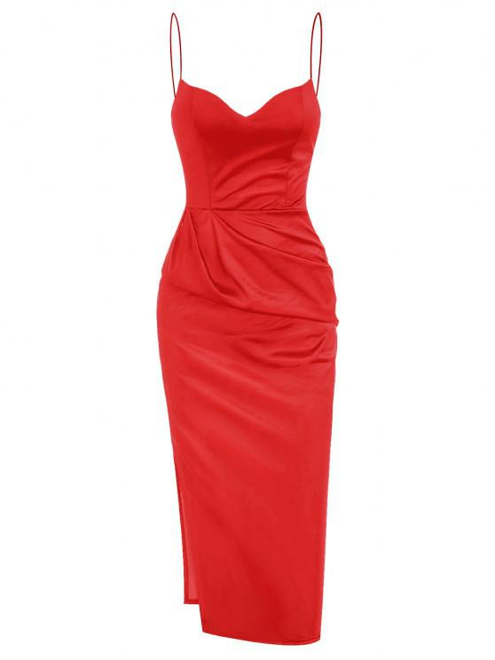 women Slit Satin Ruched Bodycon Cami Dress - RED S