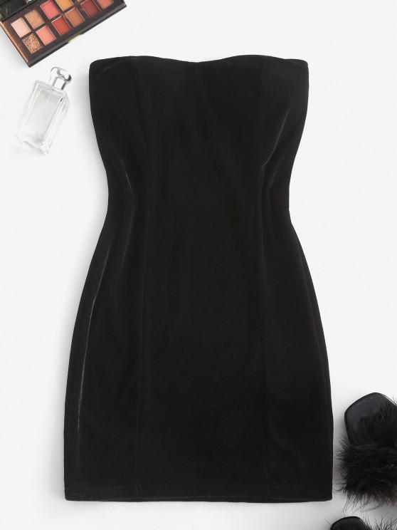 new Padded Velvet Mini Tube Dress - BLACK ONE SIZE