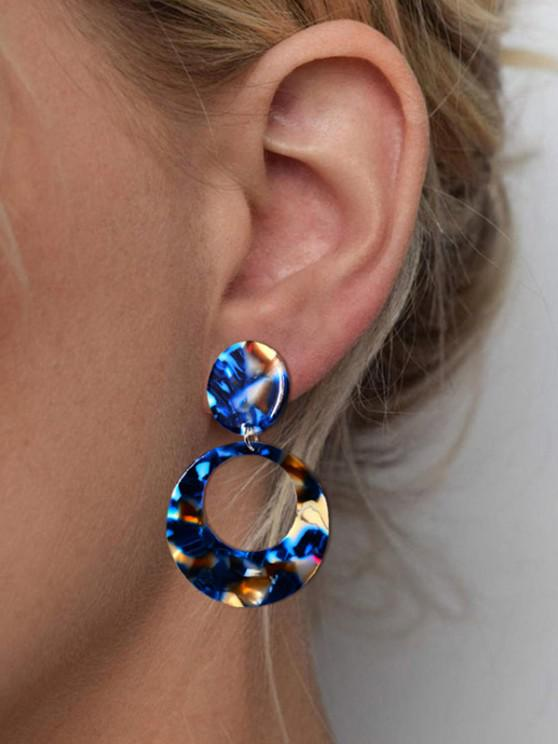 chic Hollow Round Colorblock Earrings - BLUE