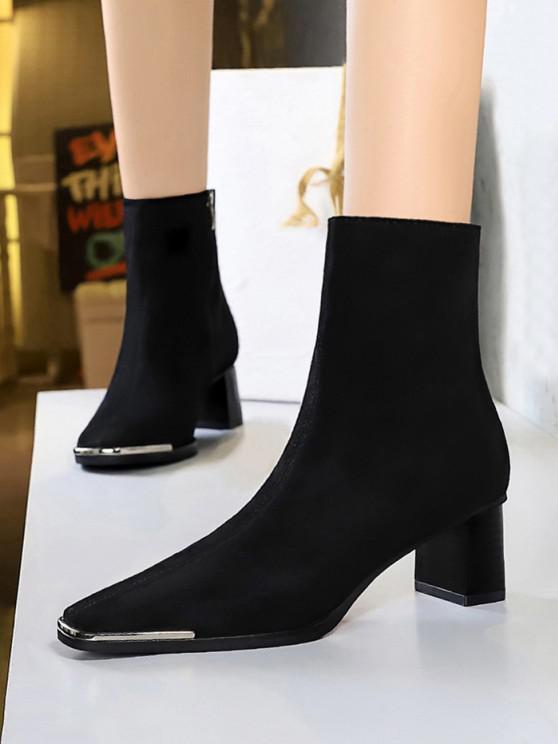 unique Metal Square Toe Block Heel Boots - BLACK EU 38