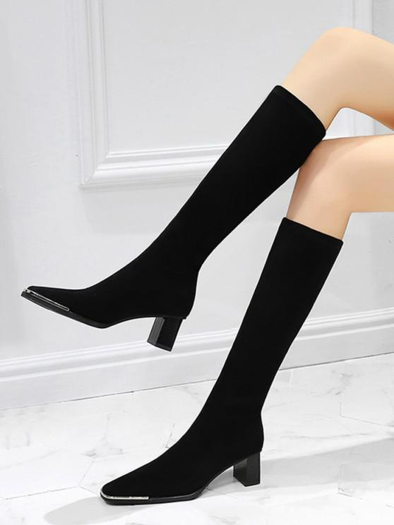 ladies Block Heel Suede Knee Length Boots - NATURAL BLACK EU 39