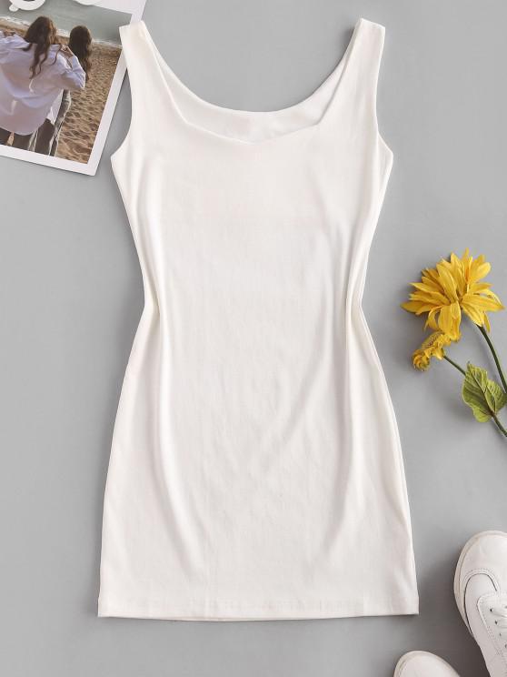 trendy Sweetheart Neck Bodycon Mini Tank Dress - WHITE ONE SIZE