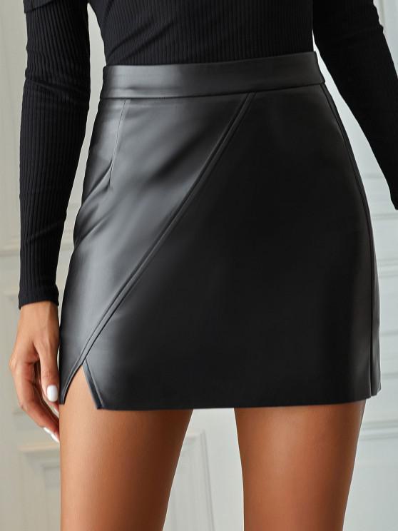 best Faux Leather Raw Hem Bodycon Skirt - BLACK S