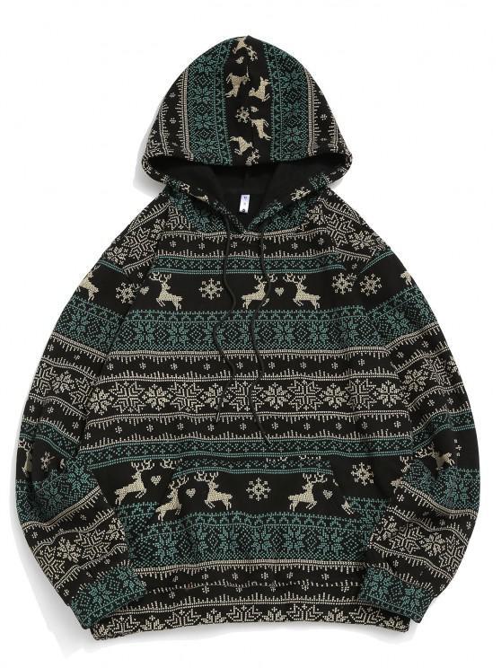 Christmas Snowflake Elk Print Fleece Hoodie - أسود L
