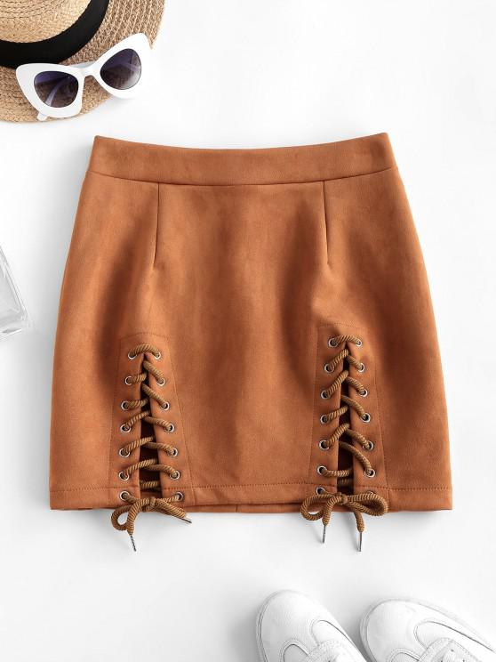 trendy Lace-up Suede Bodycon Skirt - COFFEE L