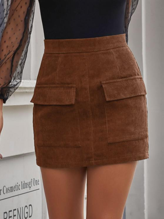 outfit Flap Pocket Corduroy Bodycon Skirt - COFFEE M