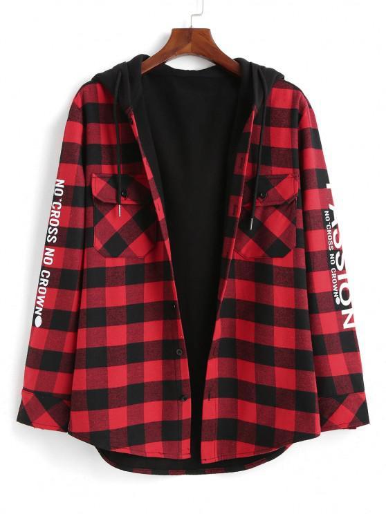 Plaid Passion Slogan Print Fleece Lined Hooded Shirt Jacket - أحمر S