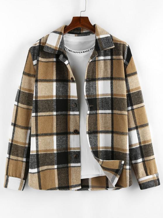 trendy ZAFUL Plaid Long Sleeve Shirt - LIGHT COFFEE S