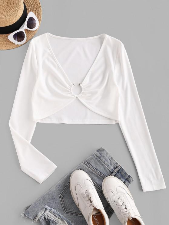 best ZAFUL Ring Linked Plunging Crop T Shirt - WHITE M