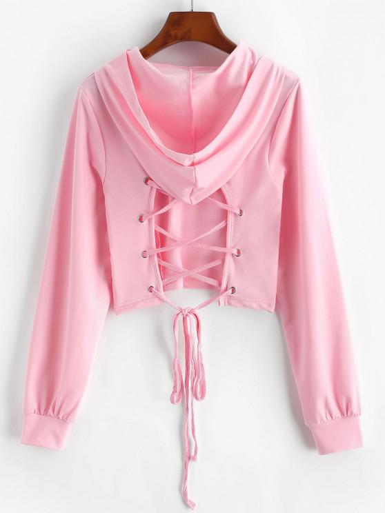 Lace-up Open Back Crop Hoodie - وردي فاتح S