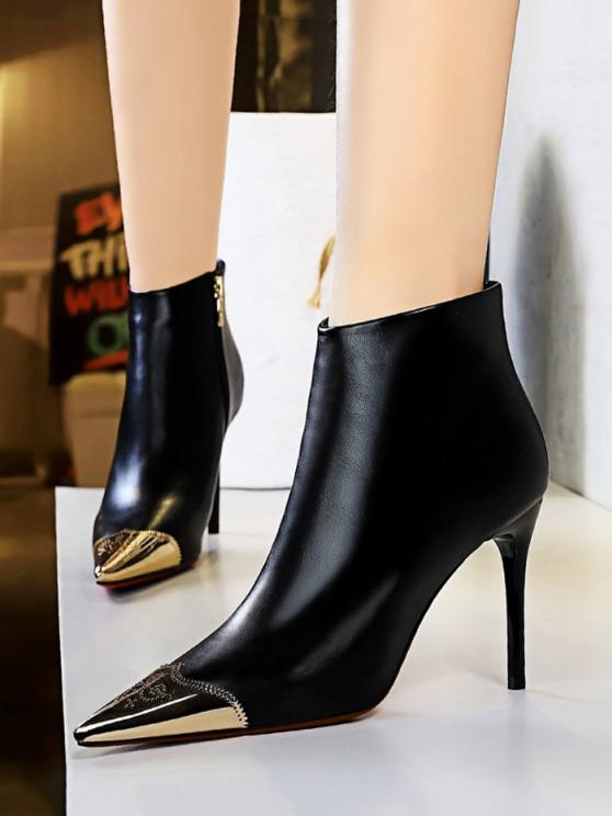 fancy Metal Pointed Toe Ankle Boots - BLACK EU 37