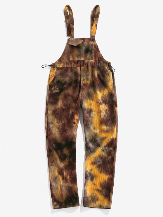 new ZAFUL Tie Dye Corduroy Overall Pants - COFFEE XL