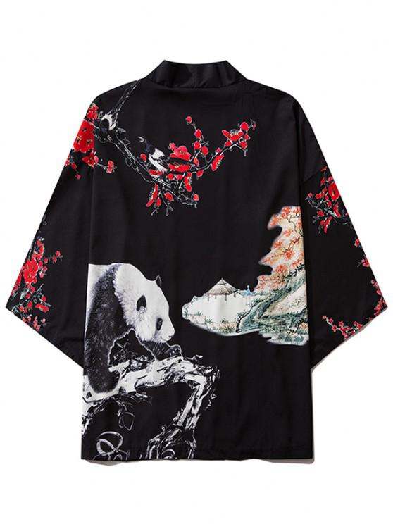 sale Panda Flower Paint Print Open Front Kimono Cardigan - BLACK S