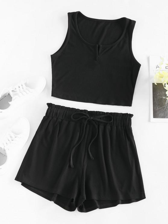 chic ZAFUL Ribbed Crop Top and Shorts Two Piece Set - BLACK M