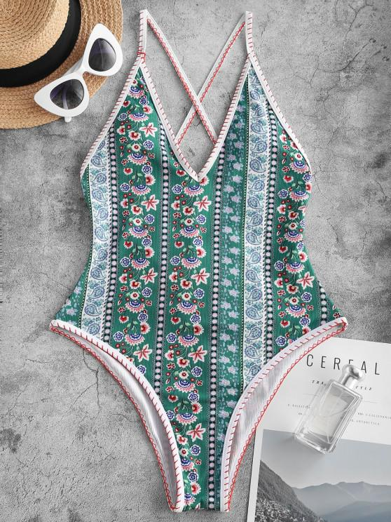 latest ZAFUL Bohemian Flower Lace Up Backless One-Piece Swimsuit - GREEN M