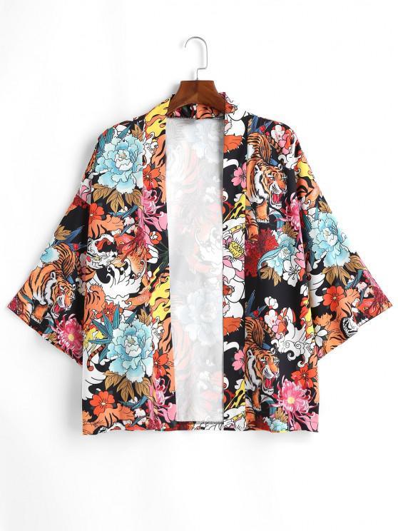 Tiger Flower Chinoiserie Kimono Cardigan - أسود XL