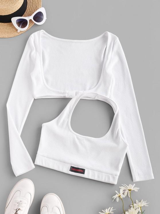 Halter Rib-knit Tank and Long Sleeve Buckled Top - أبيض S