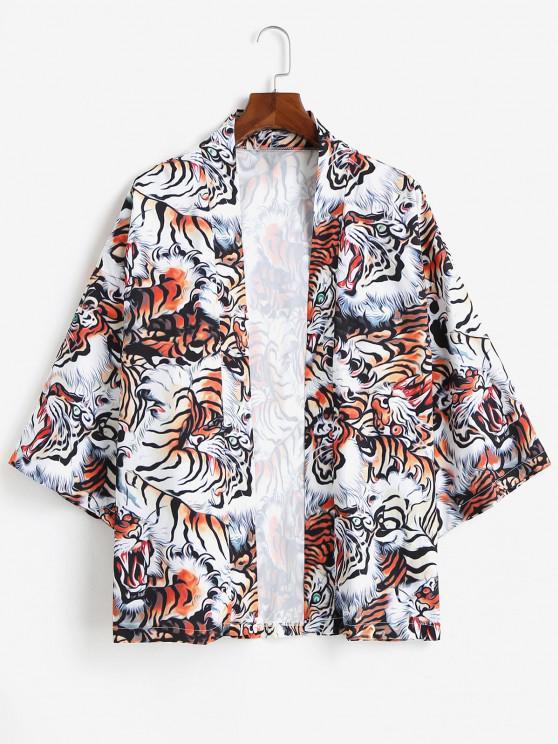 Open Front Tiger Allover Kimono Cardigan - النمر البرتقالي S