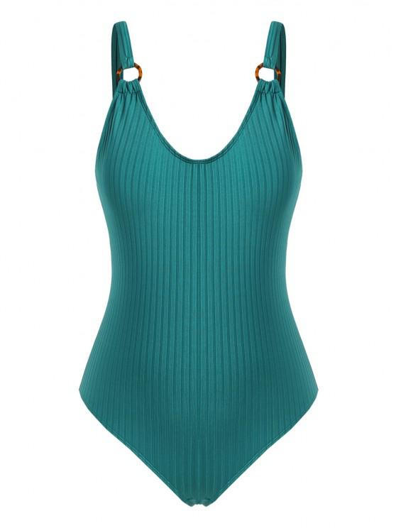 outfits ZAFUL O-ring Ribbed Plus Size One-piece Swimsuit - DEEP GREEN XL