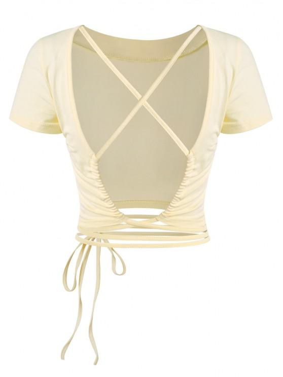 unique Crisscross Open Back Midriff Flossing Baby Tee - LIGHT YELLOW M