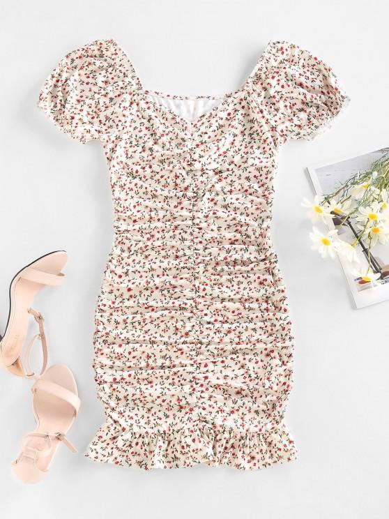 buy ZAFUL Ditsy Print Puff Sleeve Ruched Mini Mermaid Dress - WHITE S