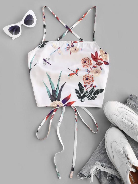 women's ZAFUL Lace Up Crisscross Printed Crop Top - WHITE S