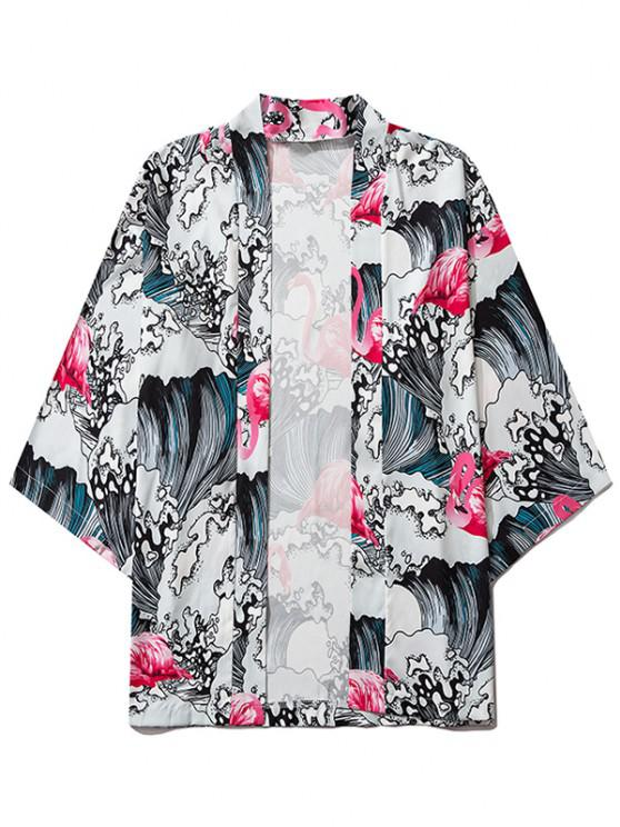 Sea Waves Flamingo Print Open Front Kimono Cardigan - أحمر خدود L