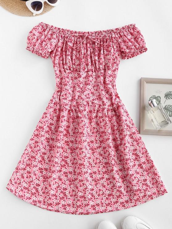 latest Off Shoulder Ditsy Print Smocked Back Ruched Nap Dress - LIGHT PINK M