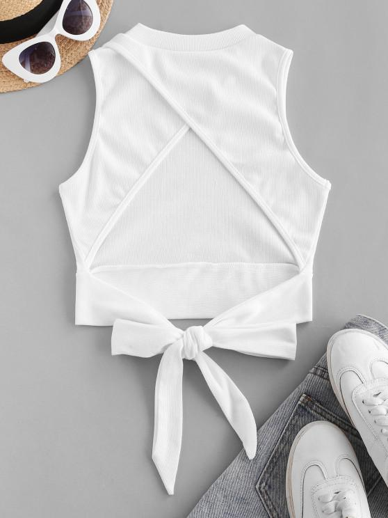 outfit Rib-knit Back Knot Cutout Crop Top - WHITE S