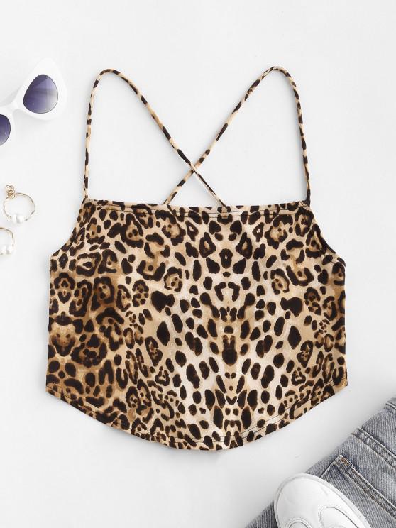 unique Leopard Crisscross Lace-up Backless Cami Top - MULTI M