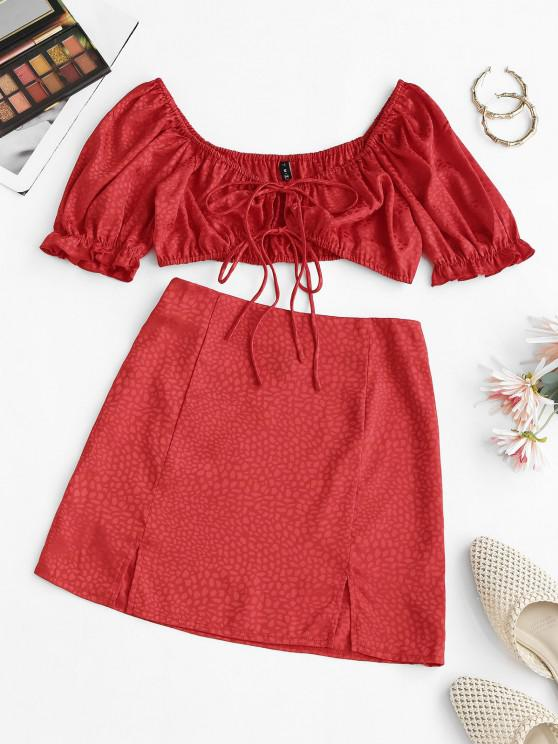 lady Jacquard Puff Sleeve Tied Two Piece Skirt Set - RED M