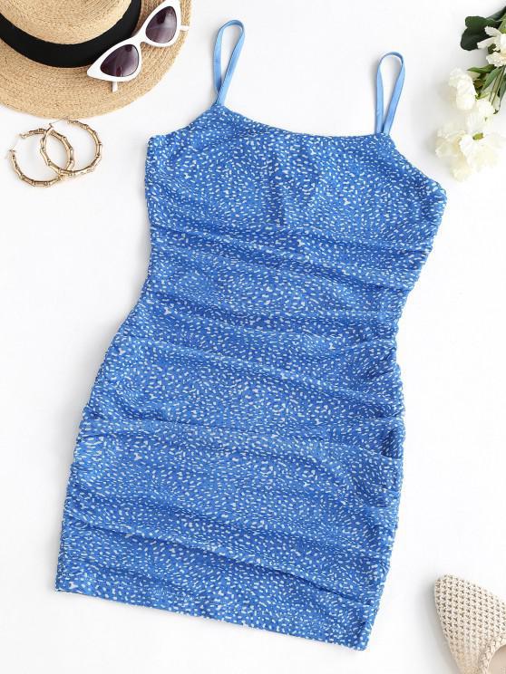 shop Mesh Ditsy Print Backless Ruched Cami Dress - BLUE M
