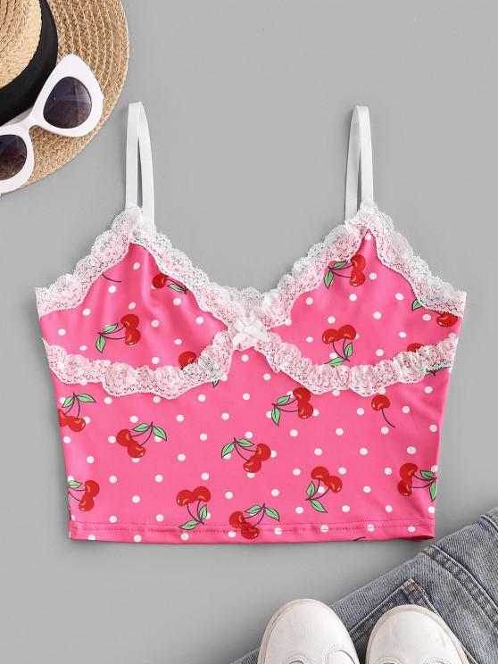 chic Lace Panel Polka Dot Cherry Print Camisole - LIGHT PINK S
