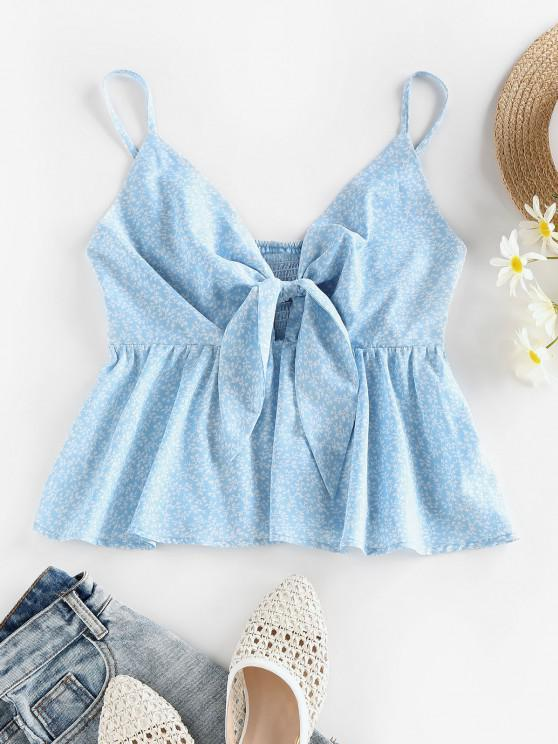 hot ZAFUL Ditsy Print Tied Smocked Peplum Camisole - LIGHT BLUE XL