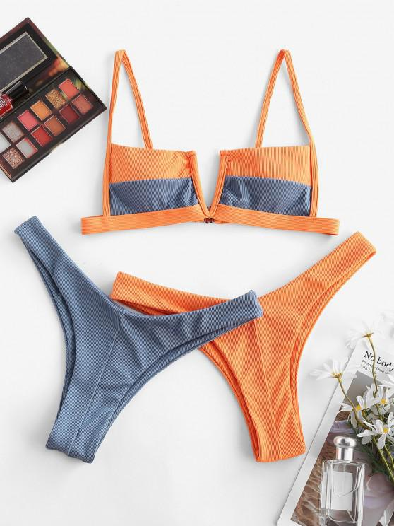 ladies ZAFUL Ribbed V-wired Two Tone Three Piece Swimsuit - DARK ORANGE L